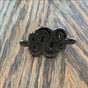 NWOT Coiled Snake Lapel Pin Button Silver Tone